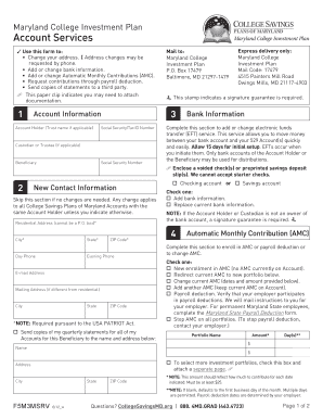 Fillable Online collegesavingsmd Account Services Form Adobe PDF