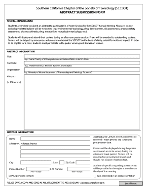 southern california chapter of the society of toxicology form