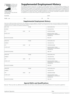 prior work history form template