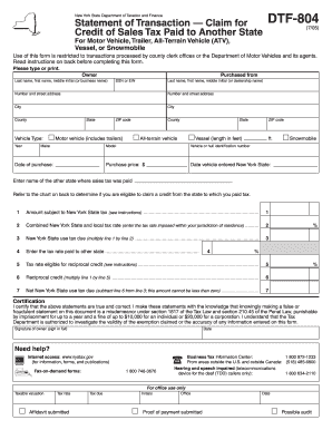 2005 form ny dtf dtf 804 fill online printable fillable for Motor vehicle bill of sale ny