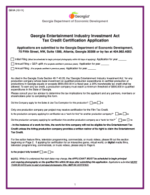 georgia entertainment industry investment act tax credit certification application form