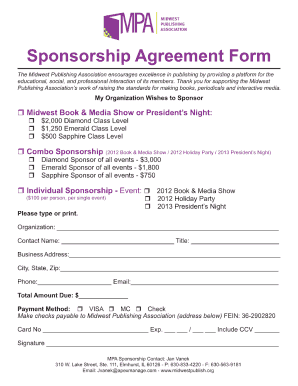 Sponsorship Agreement Form  Blank Sponsor Form