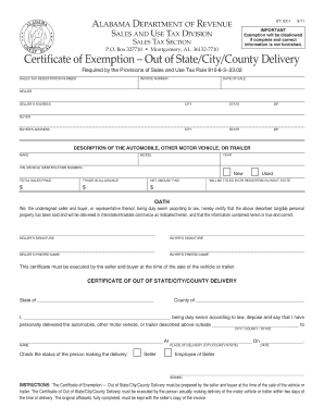Fillable Online Revenue Alabama Certificate Of Exemption Out