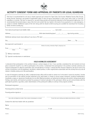 Bsa Activity Consent Form 19 673indd - Fill Online, Printable ...