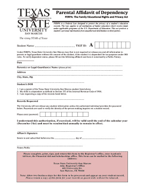 what is an affidavits of dependency texas form