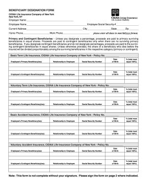 Cigna Beneficiary Designation Form - Fill Online ...