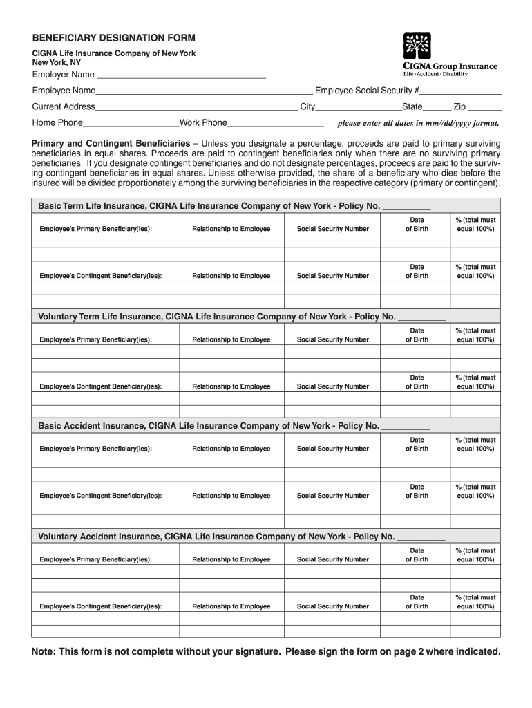 Blank Beneficiary Designation Form Fill Online Printable