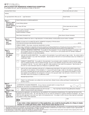NEW HOW TO FILL OUT HOMESTEAD EXEMPTION FORM TEXAS | Form
