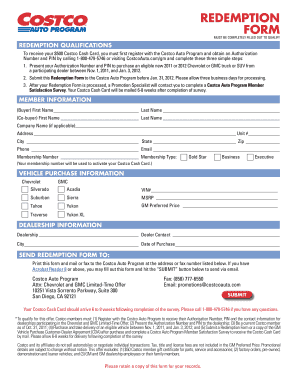 Costco Auto Program >> Fillable Online REDEMPTION FORM - Costco Auto Fax Email Print - PDFfiller