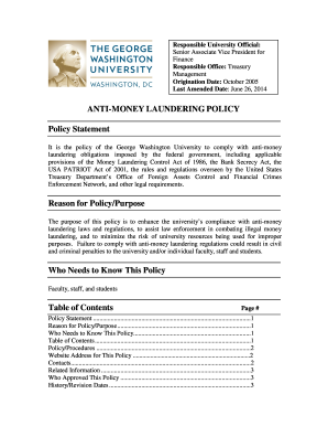 anti money laundering program template policy and procedure template forms fillable printable