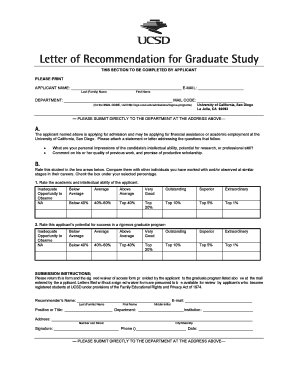 Fillable Online ogs ucsd Letter of Recommendation Form   Office of