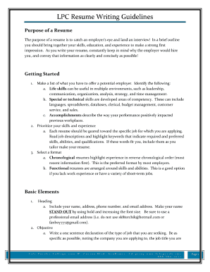 how to write lpc resume form