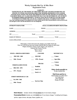 Car Show Registration Form Pdf Fillable