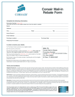 Fillable Online Corsair Mail-in Rebate Form Fax Email Print ...