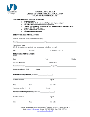 mdc study abroad mobility audit form