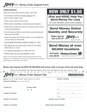Jpay Money Order Deposit - Fill Online, Printable, Fillable, Blank ...