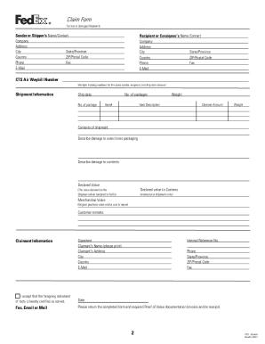 Fedex Claim Form - Fill Online, Printable, Fillable, Blank | PDFfiller