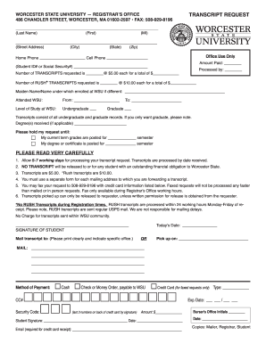 Worcester State University Transcript - Fill Online, Printable ...