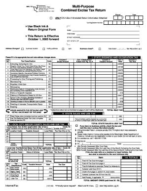 Washington Combined Excise Tax Returns Fillable Forms - Fill ...