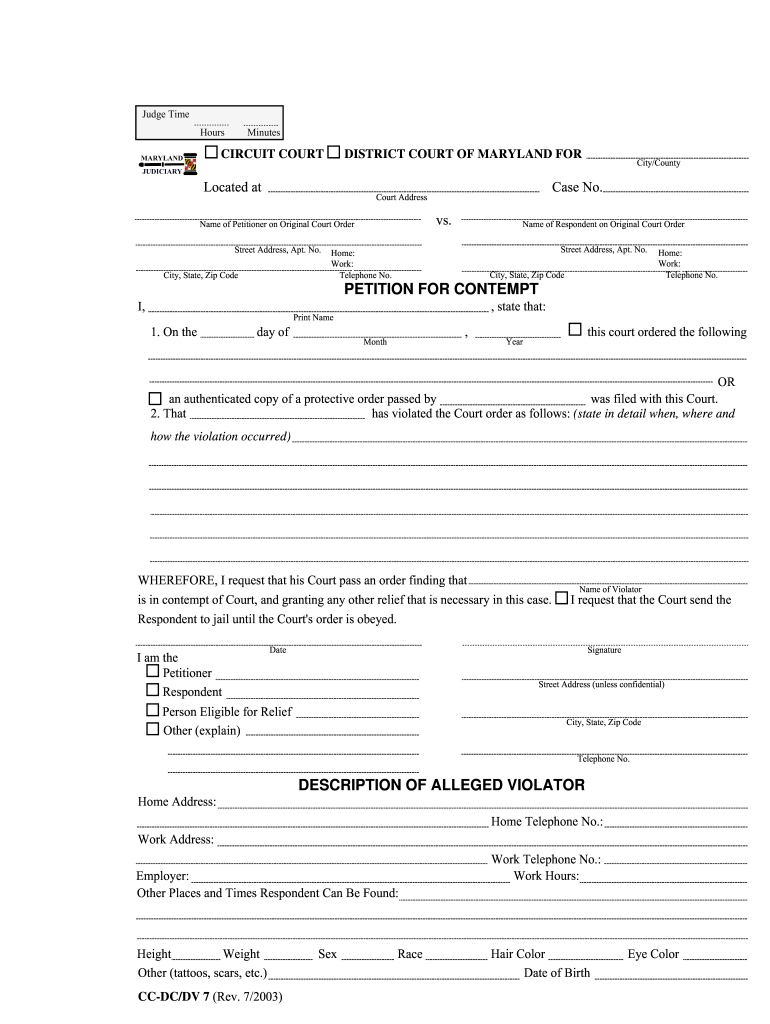 Petition For Contempt Maryland Fill Online Printable Fillable Blank Pdffiller