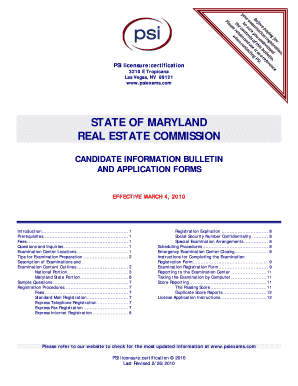 psi state of maryland real estate commission psi candidate information brochure