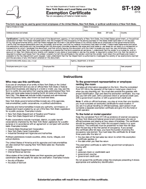 New York Hotel Tax Exempt Form - Fill Online, Printable, Fillable ...