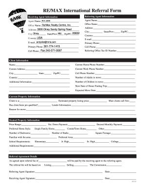 remax referral form fill online printable fillable blank pdffiller. Black Bedroom Furniture Sets. Home Design Ideas