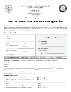 Nj lemon law application form fillable