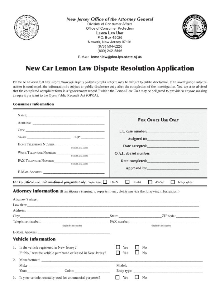 Lemon Law Nj Used Car >> New Jersey Lemon Law Forms Fill Online Printable