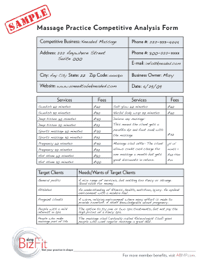 sample competitive analysis of a mobile massage form