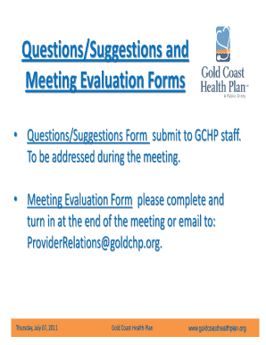 Fillable staff meeting evaluation form Samples to Complete