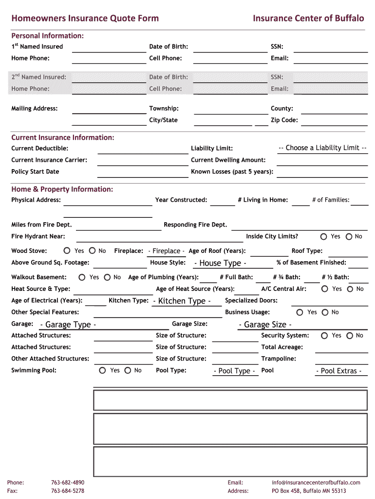 Mn Homeowners Insurance Quote Form Fill And Sign Printable Template Online Us Legal Forms