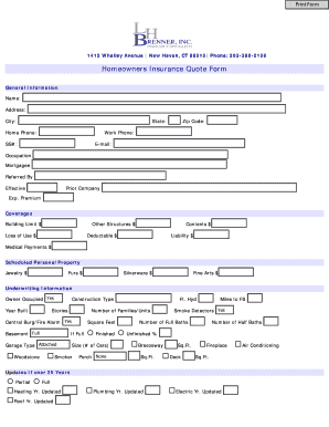 Illinois Homeowners Quote Form Pdf - Fill Online ...