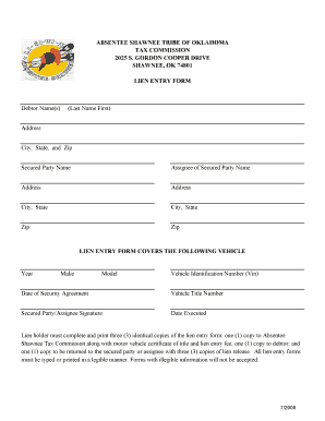 Shawnee Tribe Lien Entry - Fill Online, Printable, Fillable, Blank ...