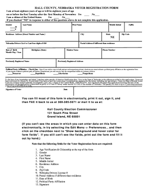 Bill Of Sale Form Nebraska Voter Registration Form Templates ...