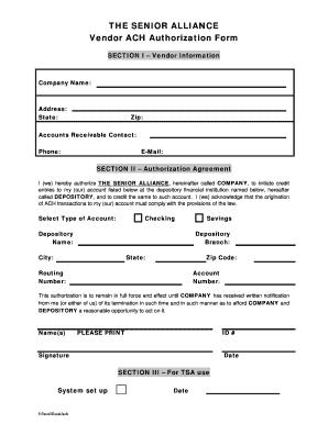 Vendor Ach Payment Authorization Form - Fill Online, Printable ...