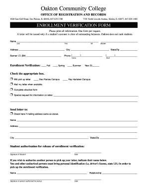 Enrollment Verification Form - Fill Online, Printable, Fillable ...
