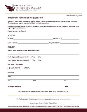 Enrollment Verification For School - Fill Online, Printable ...