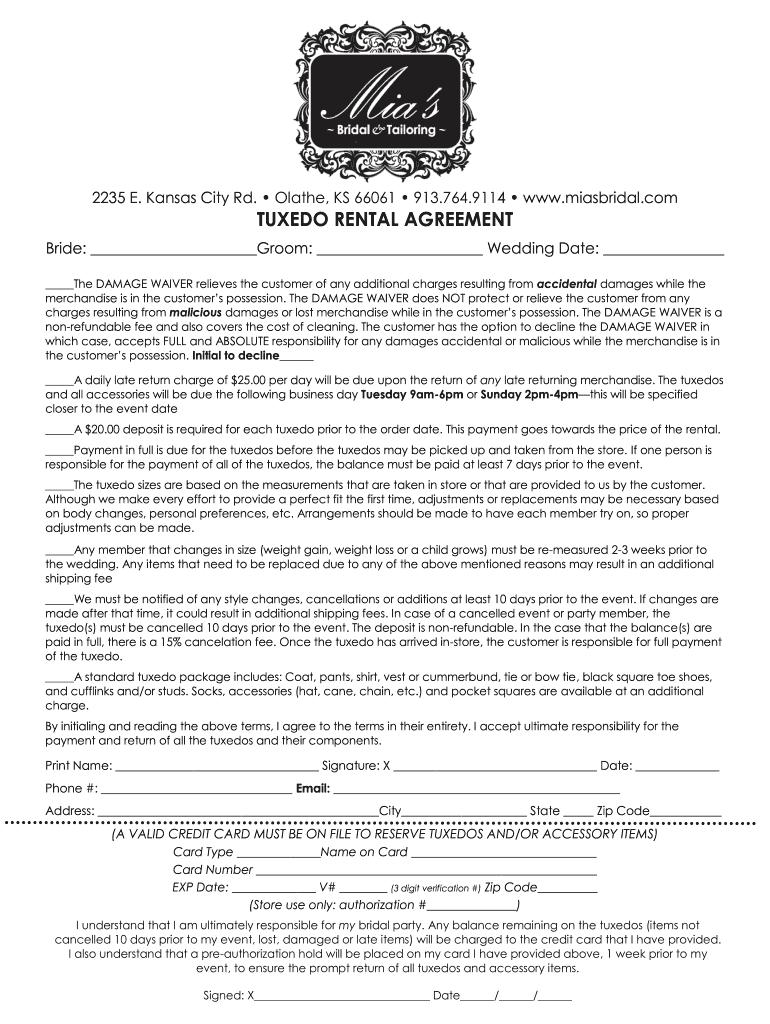 Tuxedo Rental Agreement Fill Online Printable Fillable
