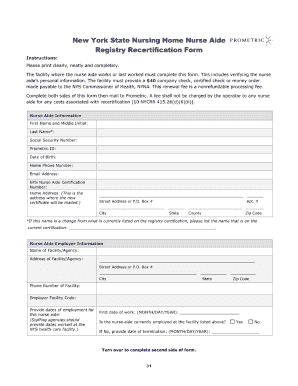 New York State Nursing Home Nurse Aide Registry Recertification Form