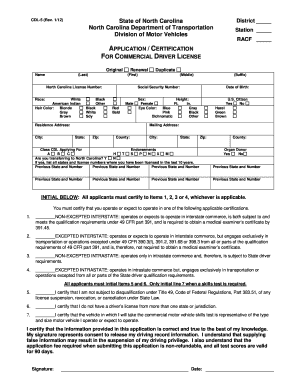 Ncdot Dmv Cdl 5 - Fill Online, Printable, Fillable, Blank ...