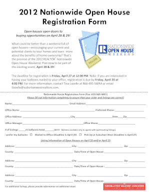 Realtor Open House Registration Form - Fill Online, Printable ...