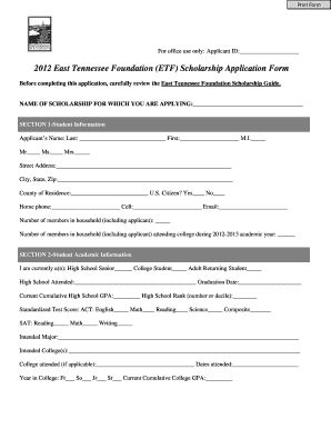 Etf Scholarship Application Form - Fill Online, Printable