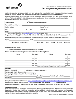 Fillable Online girlscoutsww Event Registration Form - Girl Scouts ...