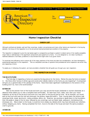 home inspection checklist pdf form