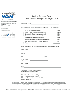 Mail-In Donation Form 2012 Wish-A-Mile (WAM) Bicycle Tour - kintera