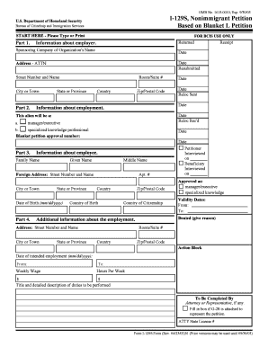 Fillable Online I-129S, Nonimmigrant Petition Based on Blanket L ...