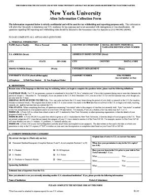 New York University Form - Fill Online, Printable, Fillable, Blank ...