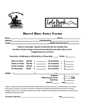 Fillable Online Barrel Race Entry Forms Fax Email Print