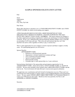 golf sponsorship solicitation letter